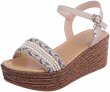 58e84d3bec4d chengzhijianzhu Womens Sandals Weaving Flower Round Toe Platform High Heel  Wedges Slingback Slides Slippers Rome Flats