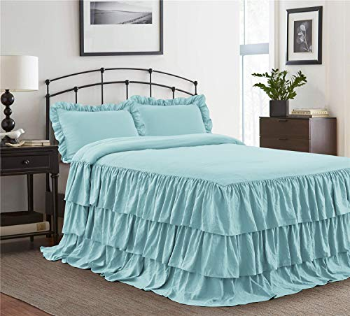 HIG 2 Piece Ruffle Skirt Bedspread Set Twin-Aqua Color 30 inches Drop Ruffled Style Bed Skirt Coverlets Bedspreads Dust Ruffles- Echo Bedding Collections Twin Size-1 Bedspread, 1 Standard Sham