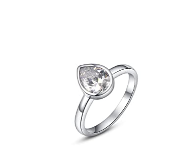 18ad000b25 Buy Silver Shoppee 'Dewdroplet' High Quality AAA Zircon Sterling Silver Ring  For Girls and Women Online at Low Prices in India | Amazon Jewellery Store  ...