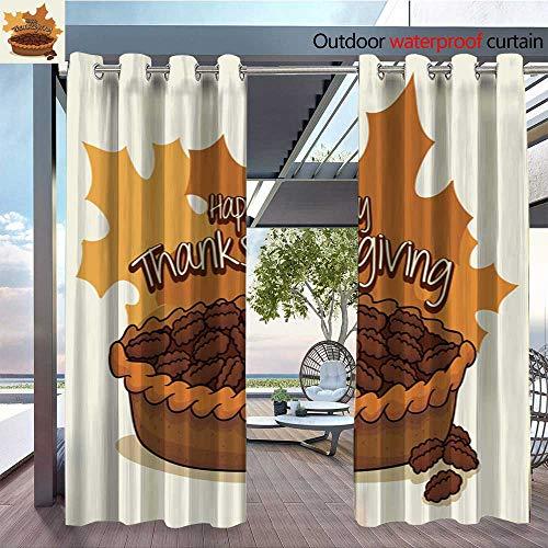 QianHe Indoor/Outdoor Single Panel Print Window Curtain Delicious-Thanksgiving-Pecan-Pie-.jpg Silver Grommet Top Drape W120 x ()