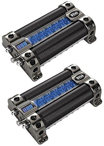 2) BOSS CAP8 8 FARAD LED Digital Voltage Display Car Audio Power Capacitors Caps
