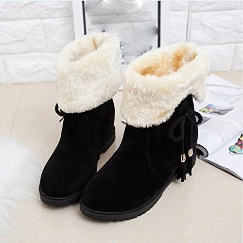 IGEMY Snow Boots Winter Ankle Boots Women Shoes Heels Winter Boots Fashion Shoes Black fPT0xw6D