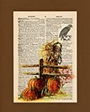 Vintage Dictionary Art Print-Orange Pumpkins with Hay