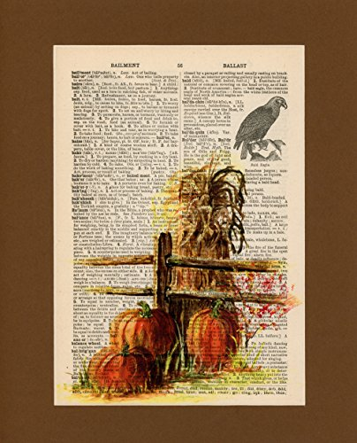 Vintage Dictionary Art Print-Orange Pumpkins with Hay by Sun City Art