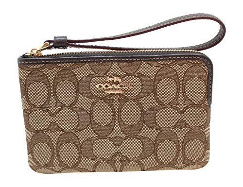 COACH Outline Signature C Corner Zip Wristlet Wallet