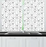 Cheap Lunarable Antlers Kitchen Curtains, Hunting Theme with Scandinavian Design Elements Arrows Triangles Deer, Window Drapes 2 Panel Set for Kitchen Cafe, 55 W X 39 L Inches, Grey Mint Green Black