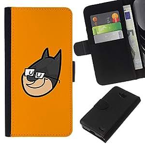 EJOY---La carpeta del tirón la caja de cuero de alta calidad de la PU Caso protector / LG OPTIMUS L90 / --Superhero Cara de dibujos animados
