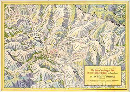Historic Map | Sun Valley Idaho - Early Ski Trail Map, Panoramic Perspective of the Area Adjacent To The New Challenger Inn And Sun Valley Lodge, 1937 | Vintage Wall Art 24in x 16in