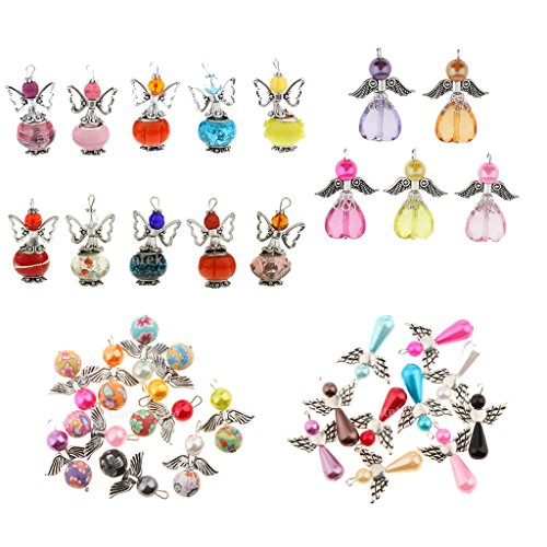 Baoblaze 35 Pieces Handmade Lovely Angel Fairy Charms Pendants Acrylic Heart/Clay Round/Pearl Drop Beads Antiqued Silver Wings DIY Wedding Gift Tags Jewelry Hanging Craft