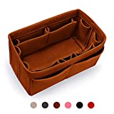 MakeUper Felt Purse Insert Organizer, Handbag Organizer, Bag in Bag, 12 Compartments (Large, Brown)