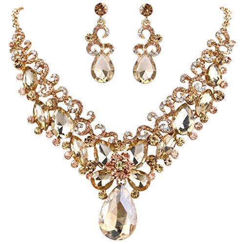 Golden Brown Earring (BriLove Women's Bohemian Boho Crystal Teardrop Marquise Butterfly Filigree Statement Necklace Dangle Earrings Set Golden Color Gold-Tone)