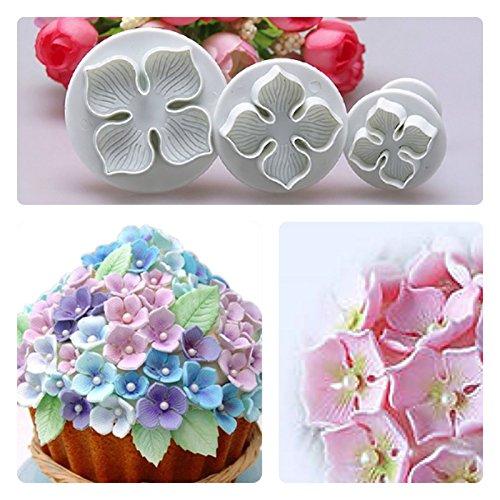 3pcs Hydrangea Flower Fondant Plunger Cutter Cake Decorating Sugarcraft