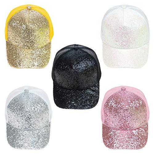 24 Pack - Wholesale Glitter Mesh Adjustable Baseball Cap in 5 Assorted colors - Bulk Case of 24 Hats