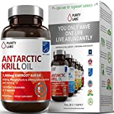 Pure Antarctic Krill Oil with Astaxanthin and K-REAL - 1,000mg per serving - 60 Liquid Softgels - Contains DHA & EPA Omega 3s and Phospholipids - Sus