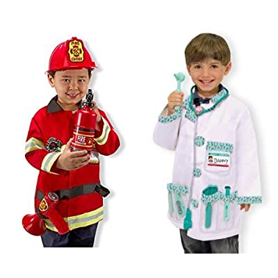 Melissa & Doug Role Play Bundle - Fire Chief and Doctor: Toys & Games