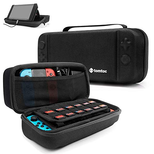 - Hard Storage Case Compatible with Nintendo Switch, tomtoc Original Protective Hardshell Travel Handle Case Carrying Bag Cover fit Nintendo Switch Console and Accessories, 24 Game Card Slots