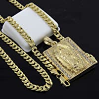 wanmanee Mens Gold Plated Hip-Hop Block Virgin Mary Pendant 24 Cuban Chain Necklace D534