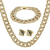 "14k Gold Finish 15mm 30"" Fully CZ Iced Out Hip Hop Miami Cuban Chain & 9"" Bracelet"