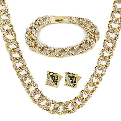 "Gold Color Tone Brass Fully CZ Iced Out 15mm 30"" Hip Hop Miami Cuban Chain & 9"" Bracelet (NOT REAL GOLD) from L & L Nation"