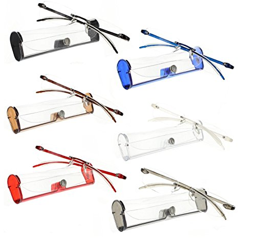 Reading Glasses 6 Pack Premium Feather Flex Rimless Reading Glasses with Case (6 Pack, - Reading Glasses Premium
