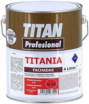 Pintura para fachadas Titania D15 Blanco 4L Titan: Amazon.es ...