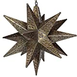 Moravian Star Light, Flower Pierced Tin, Bronze, 18″