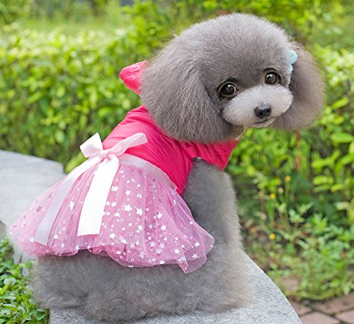 SMALLLEE_LUCKY_STORE Jumper Soft Dress Dog Clothes, Pink, Medium