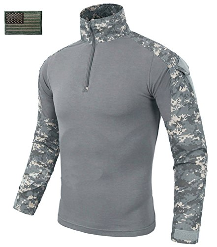 CRYSULLY Men's Tactical Combat Military Duty Uniform Hunting T-Shirt Airsoft BDU Digital Camouflage Shirt ACU