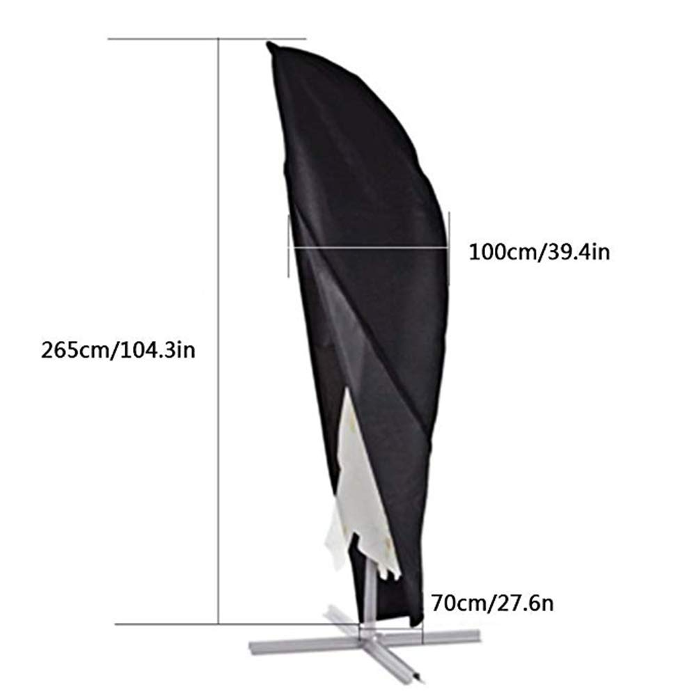JYW-coverS Furniture Cover, Outdoor Portable Umbrella Parasol Protective Cover, with Zipper 420D Oxford Cloth Waterproof and UV Resistant,Black,26510070cm