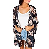 DAYSEVENTH Ladies Summer Floral Chiffon Floral Print Beach Loose Shawl Kimono Cardigans Blouse Cover Ups (Black, CN M(UK 16))