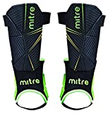 Mitre Delta Ankle Protect Football Shin Pads, Black (Black/Green/Yellow), Medium