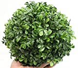 Boxwood Ball Topiary (9 Inch) Artificial Plant Wedding Decor, Indoor/Outdoor Decoration Multiple Leaf Sizes