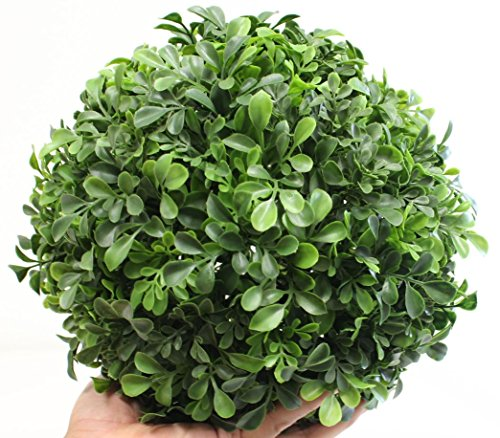 Boxwood Ball Topiary (9 Inch) Artificial Plant Wedding Decor, Indoor/Outdoor Decoration Multiple Leaf Sizes by Silk Road Home