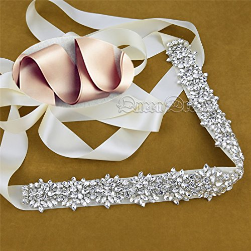 QueenDream Champagne Crystal sashes for wedding, Champagne Wedding Bridal Belt, Champange Braided Rhinestone Sash