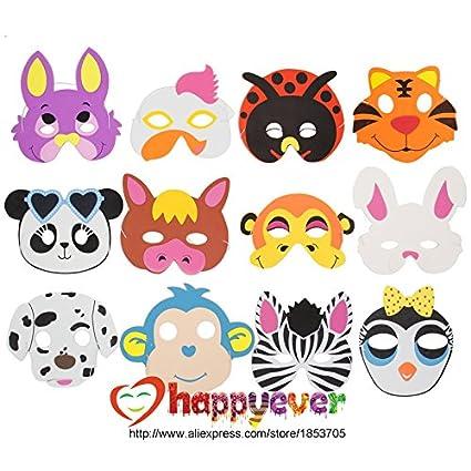 12PCS Surtido de la espuma de EVA máscaras de animales para Niños favores de la fiesta
