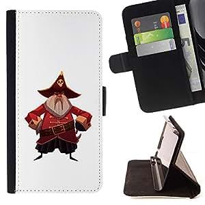 Momo Phone Case / Flip Funda de Cuero Case Cover - Capitán Pirata del cráneo del sombrero de la correa de la barba gris - LG G4