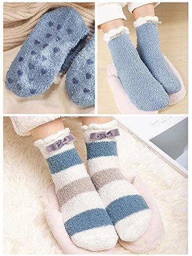 Century Star Women Warm Soft Plush Slipper Sock Winter Fluffy Crew Socks Cute Casual Home Athletic Yoga Sports (Z 3 Pairs Blue Series, One Size)