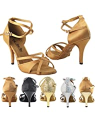 Party Party 2829LEDSS Comfort Evening Dress Pump Sandals, Women Ballroom Dance Shoes (2.75, 3 & 3.5 High Heels)