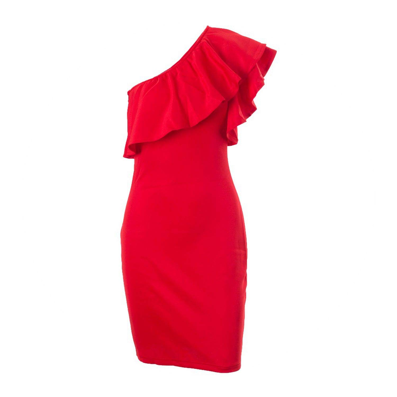 Trendy-Nicer-Autumn Winter Women Straight Long Sweater Dress GreatSexy Ruffles RedOne Black Vestidos