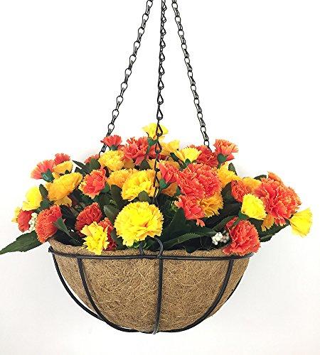 Lopkey Artificial Flower Dianthus Caryophyllus Carnation Hanging Basket with Chain Flowerpot Decor,10 Inch Orange (Flower Orange Basket)