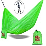 BOS Portable Double Camping Hammock - Lightweight Polyester Hammock for Outdoor Backpacking, Hiking, Travel, Beach, Patio, Yard, 2 Person Travel Hammock. 108''(L) x 55''(W) - Green