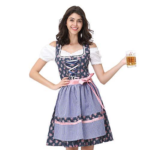 German Beer Girl Costume Authentic (Women's German Dirndl Beer Dress Costumes for Bavarian Oktoberfest Carnival)