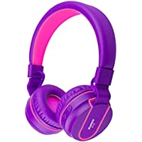 Bluetooth Headphones, Biensound BT05 Stereo Lightweight Foldable Headphones Wireless Bluetooth Headset with Microphone and Volume Control for Cellphones TV Laptop Computer Headphones (Purple Pink)