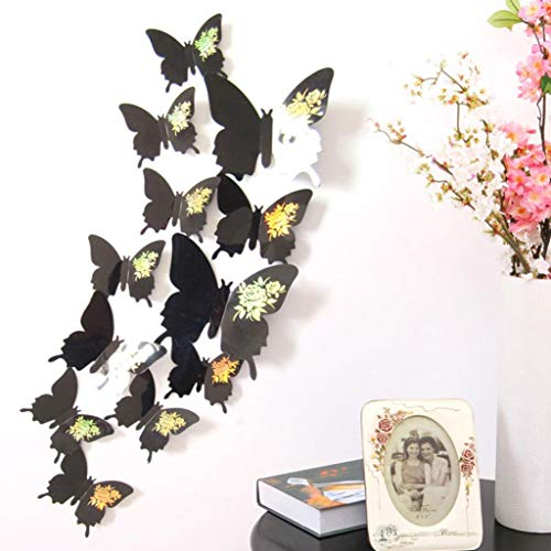 Ash Stripe Wood (12 Pcs Wall Stickers Butterfly Decor Art DIY Home Decorations Home Kids Room Decor (Black))