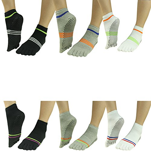 Women Slip Pairs 002 Barre amp;Black Socks amp;Men 6 stripes J'colour Non Ankle Sports White Athletic different Yoga Pilates Socks Gripes 2 for amp;Grey twwXq67ax