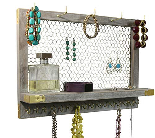 Wall Jewelry Holder - Outshine Large Rustic Farmhouse Vintage Wall Mounted Hanging Jewelry Organizer, Perfect Holder for Earrings Necklaces Bracelets-Gold Chicken Wire, Present for Women, Wife, Mom, Girlfriend (Rustic)