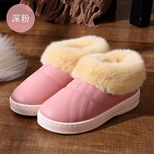 DogHaccd pantofole,Pelle pu Impermeabili di cotone invernale pantofole pacchetto con le coppie home soggiorno anti-slittamento spesso caldo inverno pantofole uomini e donne,Rosa scuro34-35