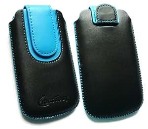 Emartbuy ® Value Pack Para Huawei U8180 Negro / Azul Slide En Cuero De Primera Calidad Pu Funda / Estuche / Manga / Soporte (Medium Size) Con Mecanismo Pull Tab + Compatible Micro Usb Car Charger + Protector De Pantalla
