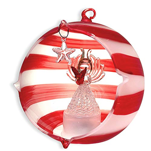 BANBERRY DESIGNS Lighted Glass Christmas Ornament - Glass Angel Holding a Red Cardinal - Hand Painted Red Stripes - LED Color Changing Christmas Tree Ornament