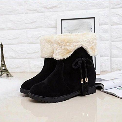 Stiefel damen Kolylong® Frauen Elegant Plüsch Troddel Stiefel Herbst Winter Warme Stiefel Stiefeletten Stiefel Blockabsatz Schnee Stiefel Freizeit Schuhe Schwarz